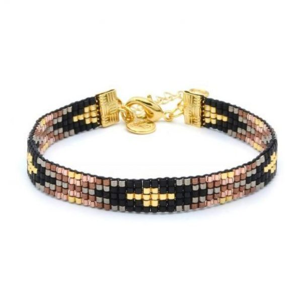 Beaded Bracelet Metallic Black Brown Goud 510X510