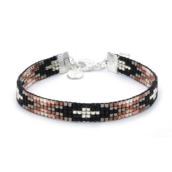 Beaded Bracelet Metallic Black Brown Zilver 510X510
