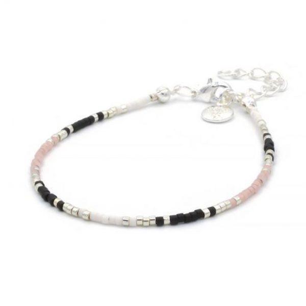 Delicate Bracelet Black Pastel Pink Zilver 510X510